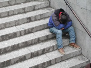 homeless man, stairs, mormon, depression
